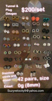 Gauge collection,  size 0 (42 pairs) Silver Spring, 20910