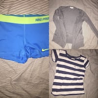 Blue nike pro shorts , white and blue stripped hollister t shirt and grey cardigan from forever 21