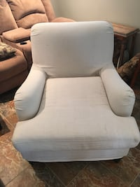 white fabric padded glider chair Mantoloking, 08738