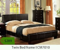 black wooden bed and brown mattress with twin bed frame text overlay Whittier