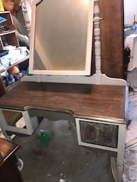 Gray and walnut stained vanity custom 2293 mi