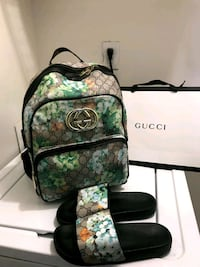 monogrammed green, brown, and black Gucci leather backpack Austell, 30168