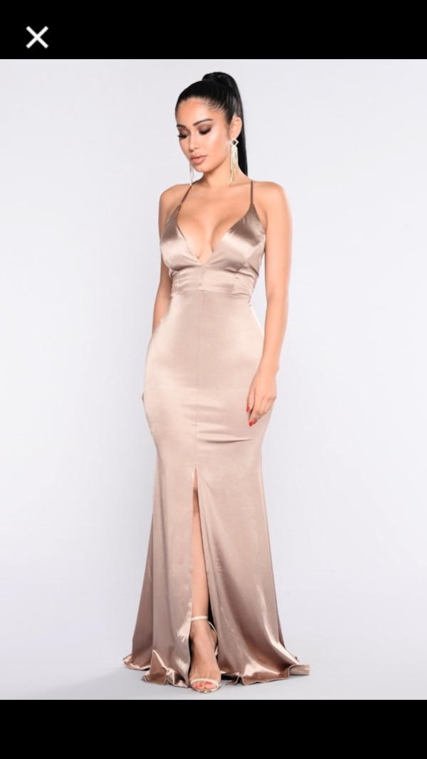 1b1f582c9b3 Used FASHION NOVA - Decadence Satin Champagne Dress for sale in ...