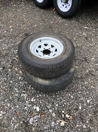 (3) 225/75/15 trailer rim and tires Townsend, 19734