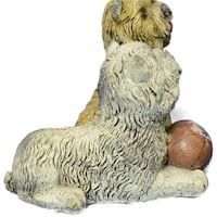 Two Sitting Terrier With A Ball Bronze Sculpture (3X4 Inches) Sterling