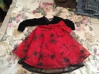 red and black long-sleeved A-line dress