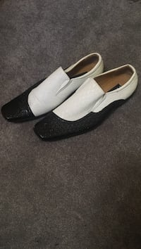 Men's black and white dress shoes