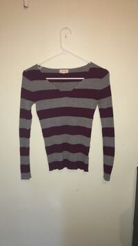 Gray and burgundy  striped long-sleeved shirt