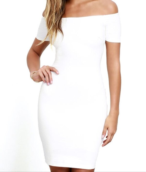 women's ivory off-shoulder bodycon dress