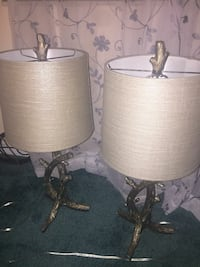 two brown wooden base with white lampshade table l