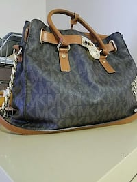 black and gray leather monogram shoulder bag