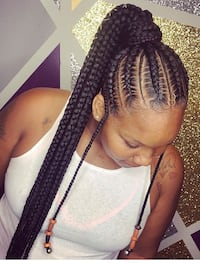 Long braided cornrow with its extension $63... Newark, 07108