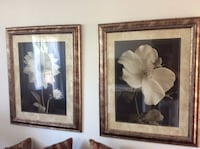 two white flower paintings and brown wooden frames Irvine, 92606