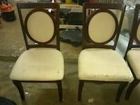 two brown wooden framed white padded chairs Katy, 77449