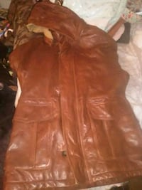 brown leather zip-up jacket Reading, 19602