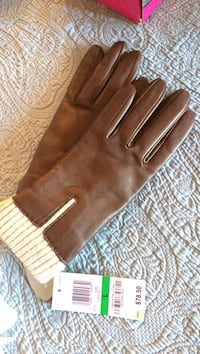 pair of brown leather gloves