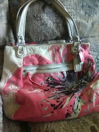 pink, white and black floral tote bag