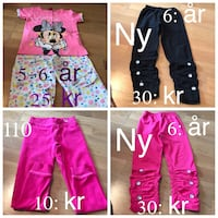 barns Minnie Mouse tryckt soveset med tre rosa och svart jeans collage