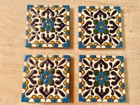 """4 terra-cotta tile coasters purchased in Mexico and NEVER USED. Measures 4 1/4"""" square"""