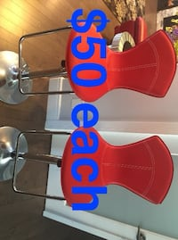 2 red leather bar stools ( Cash & Pick up only) Edmonton, T6W 2K8
