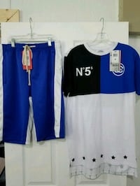 Men Custom Tee & Track Shorts Outfit set  Size Med Arlington