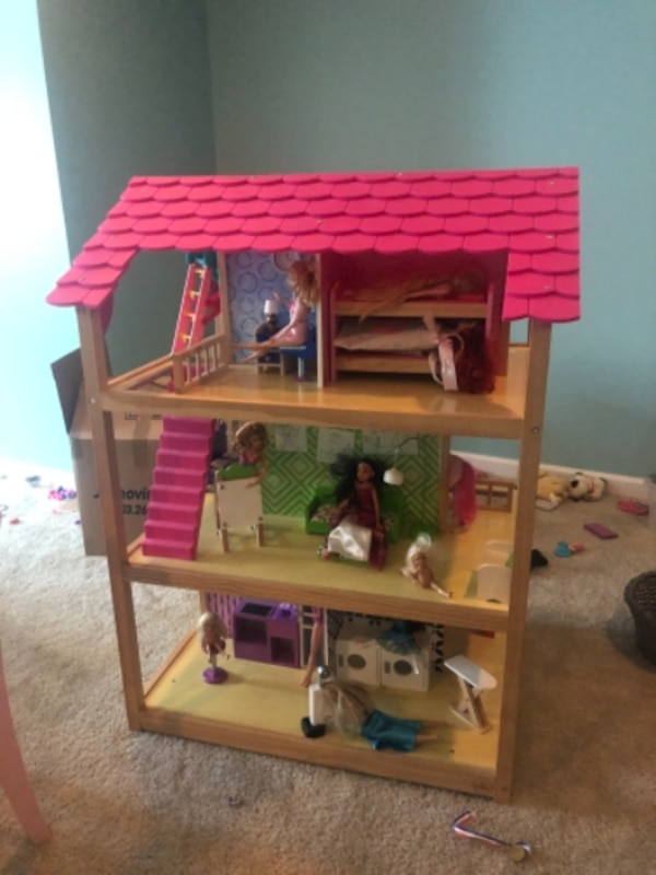 4ft wood dollhouse and Barbies