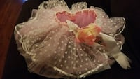 New Pink & White Heart Tutu With Flower & Ribbon