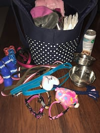 assorted dog harness, collars, bowls, and boots