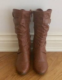 Pair of camel leather boots