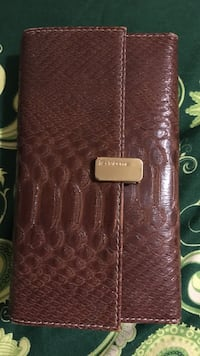 Women's brown snakeskin leather wallet