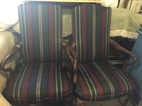 Two brown wooden framed red padded armchairs Lanoka Harbor, 08734