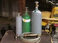 Oxygen  acetylene and CO2 tanks w/ torch & hoses  Orange, 92867