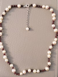 Pearl and garnet necklace and earrings  Thornton