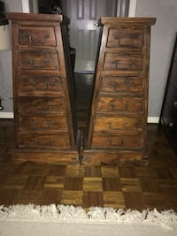 Two brown wooden 6 drawer chest  WOODBRIDGE