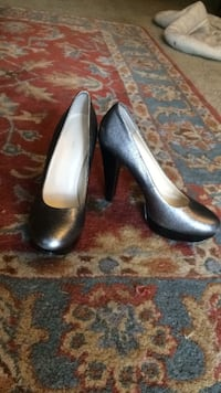 Calvin klein metallic silver and black chunky heels