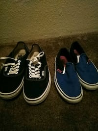 two pairs of blue and black Vans low top sneakers Lemon Grove, 91945