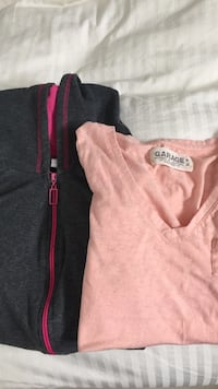 pink v-neck shirt and zip-up hoodie