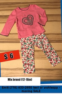 Girls clothes - 12m and 18m Coquitlam, V3E 3B8