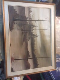 "Brown wooden framed painting of trees 32""x24"" Burlington, L7M 0N6"