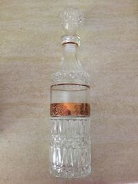 Crystal Decanter and 5 shot glasses, each with a gold band around Mississauga, L5N 1X2