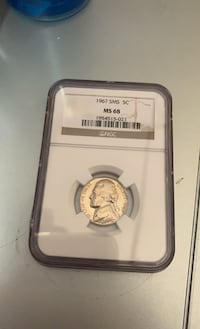 1967 sms 5c. nickel NGC. MS68 Lynn, 01905