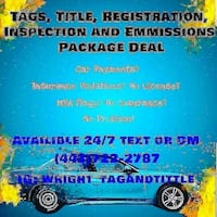 1 year hard tags, package deal only, includes insp Baltimore