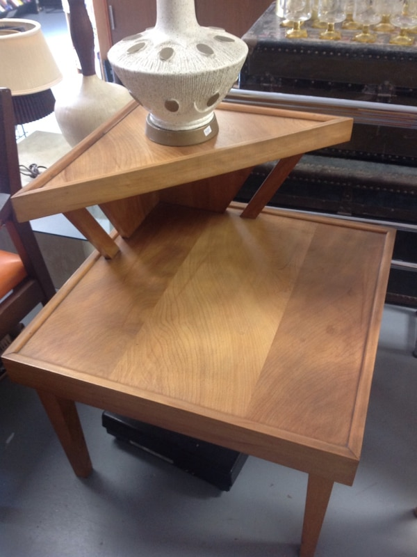 Mid Century Modern Vintage Retro Two Tier Wood End Table