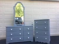 Set of 2 Solid Wood Dressers With Mirror Gray With White Handles  Manassas, 20112