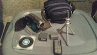 gray video camera with accessories