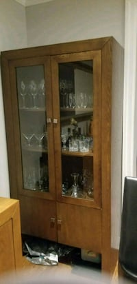 brown wooden framed glass display cabinet Toronto, M6B 2Y7