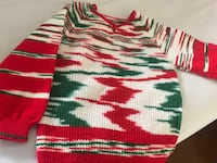 Red, white, and green stripe knit  hand made  Mississauga, L5R
