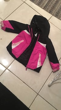 black and pink full-zip hoodie