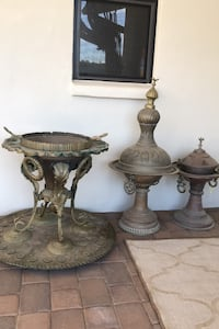 Antique Middle East braziers, set of three, copper, bronze, brass