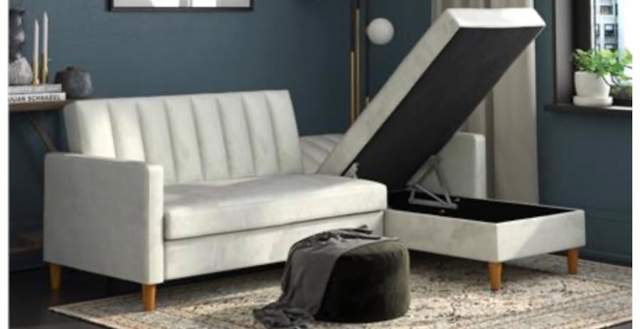 Futon Sectional with Storage (Velvet Light Gray) ***Assembly Required 7339c969-6cbe-40f8-8c89-71dcb0089aec
